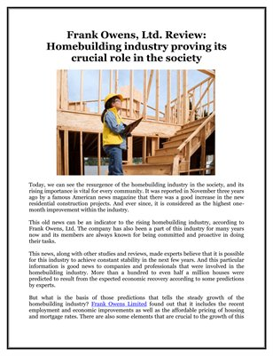 Frank Owens, Ltd. Review: Homebuilding industry proving its crucial role in the society
