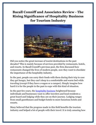 Bacall Conniff and Associates Review - The Rising Significance of Hospitality Business for Tourism Industry