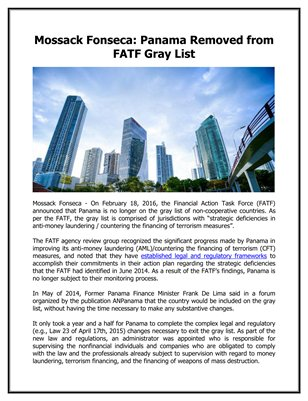 Mossack Fonseca: Panama Removed from FATF Gray List
