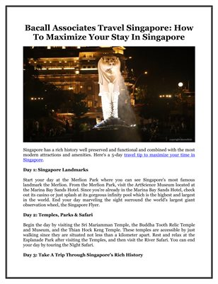 Bacall Associates Travel Singapore: How To Maximize Your Stay In Singapore