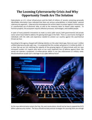 The Looming Cybersecurity Crisis And Why Opportunity Youth Are The Solution