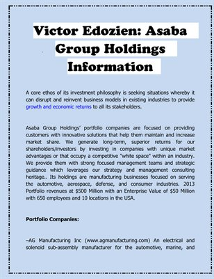 Victor Edozien: Asaba Group Holdings Information