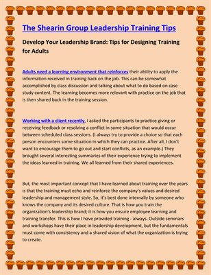 Develop Your Leadership Brand: Tips for Designing Training for Adults