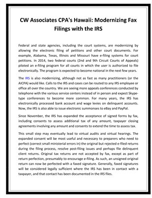 CW Associates CPA's Hawaii: Modernizing Fax Filings with the IRS