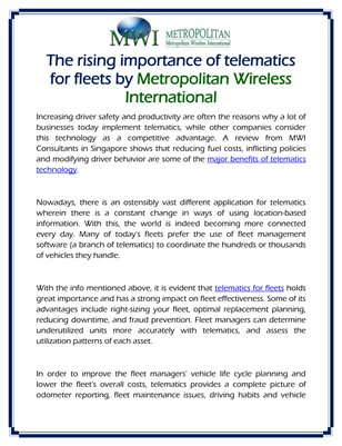 The rising importance of telematics for fleets by Metropolitan Wireless International