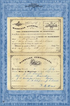 1892 Marriage License and Certificate for J.M. Crouch and Linia Hendrickson, Graves County, Kentucky