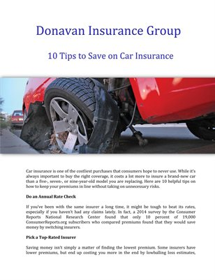 Donavan Insurance Group: 10 Tips to Save on Car Insurance