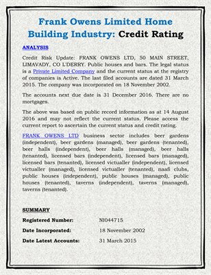 Frank Owens Limited Home Building Industry: Credit Rating