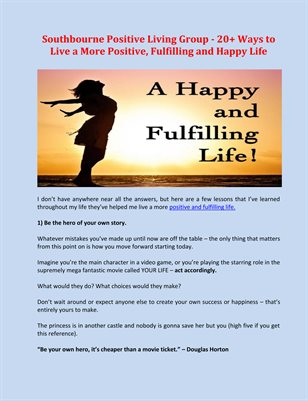 Southbourne Positive Living Group - 20+ Ways to Live a More Positive, Fulfilling and Happy Life