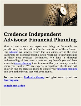 Credence Independent Advisors: Financial Planning