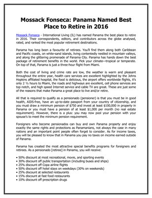Mossack Fonseca: Panama Named Best Place to Retire in 2016