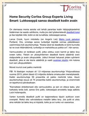 Home Security Corliss Group Experts Living Smart
