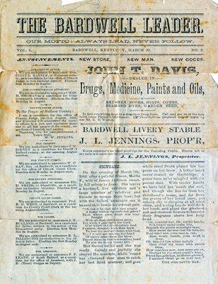 MARCH 20, 1886, THE BARDWELL LEADER, NEWSPAPER, BARDWELL, KENTUCKY