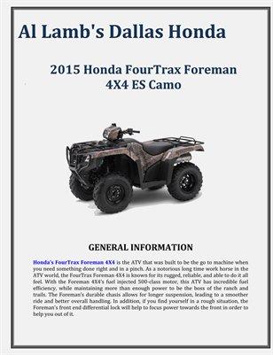 Al Lamb's Dallas Honda: 2015 Honda FourTrax Foreman 4X4 ES Camo