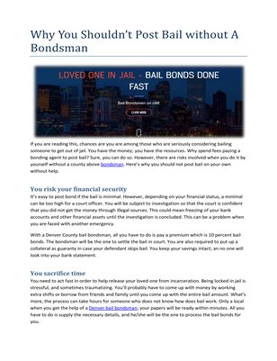 Why You Shouldn't Post Bail without A Bondsman