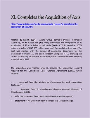 XL Completes the Acquisition of Axis