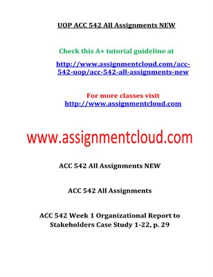ACC 542 Entire Course NEW