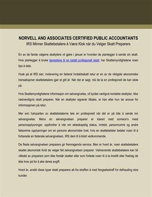 Norvell and Associates Certified Public Accountants: IRS Minner Skattebetalere å Være Klok når du Velger Skatt Preparers