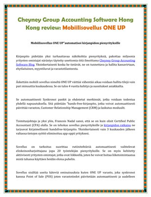 Cheyney Group Accounting Software Hong Kong review: Mobiilisovellus ONE UP