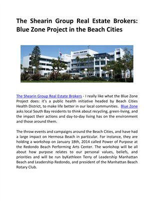 The Shearin Group Real Estate Brokers: Blue Zone Project in the Beach Cities