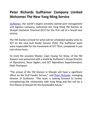 Peter Richards Gulftainer Company Limited Welcomes The New Yang Ming Service