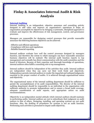 Finlay & Associates Internal Audit & Risk Analysis