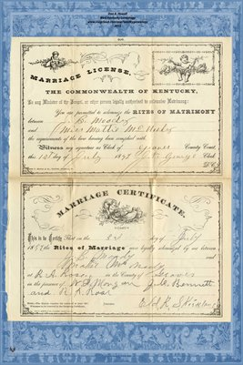 1892 Marriage License and Certificate for J.B. Moody and Miss Mattie McNeely, Graves County, Kentucky