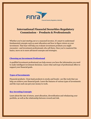 International Financial Securities Regulatory Commission -  Products & Professionals