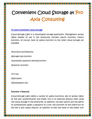 Convenient Cloud Storage at Pro Axia Consulting