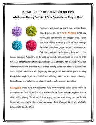 Koyal Group Discounts Blog Tips: Wholesale Kissing Balls AKA Bulk Pomanders - They're Here!