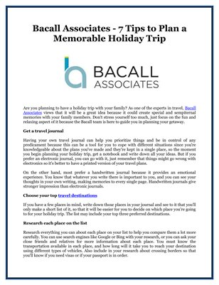 Bacall Associates - 7 Tips to Plan a Memorable Holiday Trip