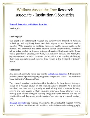 Wallace Associates Inc: Research Associate - Institutional Securities