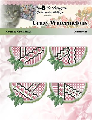 Crazy Watermelons Ornaments Counted Cross Stitch Pattern