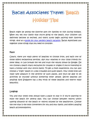 Bacall Associates Travel: Beach Holiday Tips