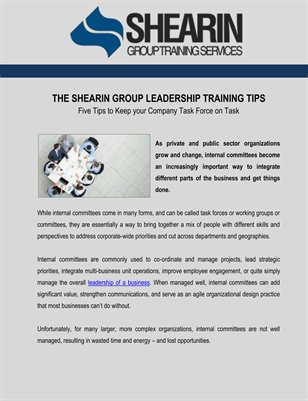 The Shearin Group Leadership Training Tips to Keep your Company Task Force on Task