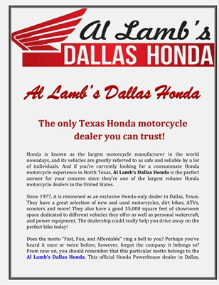 Al Lamb's Dallas Honda: The only Texas Honda motorcycle dealer you can trust!