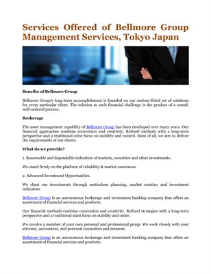 Services Offered of Bellmore Group Management Services, Tokyo Japan