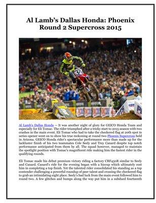 Al Lamb's Dallas Honda: Phoenix Round 2 Supercross 2015