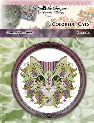 Colorful Cats Grapevine Counted Cross Stitch Pattern