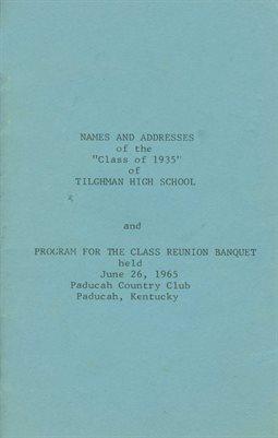NAMES & ADDRESSES OF THE CLASS OF 1935, TILGHMAN HIGH SCHOOL, PADUCAH, KENTUCKY