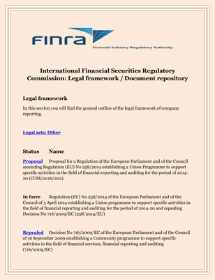 International Financial Securities Regulatory Commission: Legal framework / Document repository