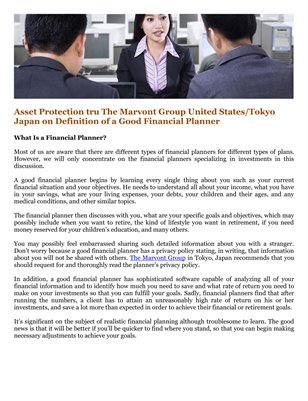 Asset Protection tru The Marvont Group United States/Tokyo Japan on Definition of a Good Financial Planner