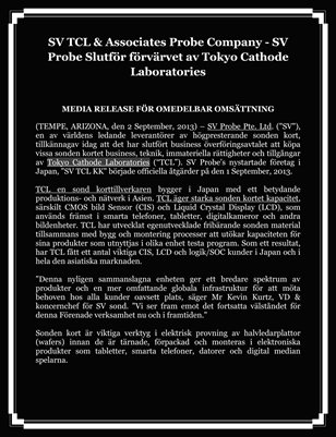 SV Probe Slutför förvärvet av Tokyo Cathode Laboratories, SV TCL & Associates Probe Company