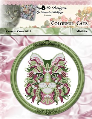Colorful Cats Mistletoe Counted Cross Stitch Pattern