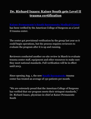 Dr. Richard Isaacs: Kaiser South gets Level II trauma certification