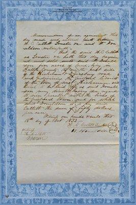 1853 Agreement between H.C. Catlett & W. Donaldson, Fulton County, Kentucky
