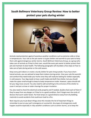 South Bellmore Veterinary Group Review: How to better protect your pets during winter