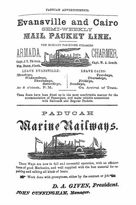 1866 MARINE RAILWAYS, PADUCAH, KENTUCKY ADVERTISEMENTS