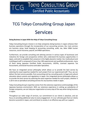 TCG Tokyo Consulting Group Japan: Services