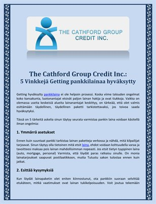 The Cathford Group Credit Inc.: 5 Vinkkeja Getting pankkilainaa hyvaksytty